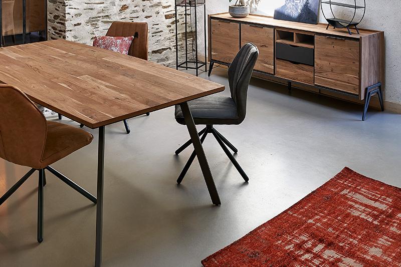 Table en bois et métal TURDA Hémisphère Sud