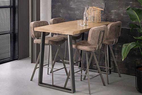 Table haute en bois et métal Hémisphère Sud